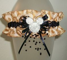 Mickey Mouse Gold and Black Glitter Sparkle Disney Prom 2016 or Wedding Garter