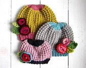KNITTING PATTERN, baby girl hat with flowers, PDF instant download