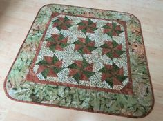 Quilted Table Topper Earthy Batiks 591 by QuiltinWaYnE on Etsy