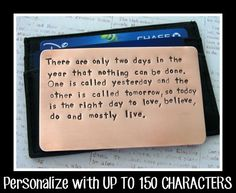 Wallet Insert Card Hand Stamped Copper Personalized Mens Gift - UP TO 150 Characters - Husband Boyfriend 7 Seven Year Anniversary on Etsy, $15.00