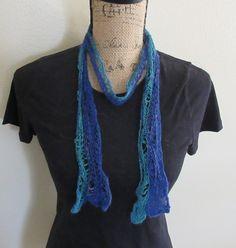 Seafoam lace handspun scarf