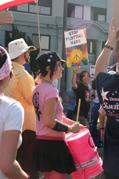 Woman drummer, Peace Marchers, San Diego, 2003 | Photo by Patty Mooney of San Diego video production company Crystal Pyramid Productions - sandiegovideoproduction.com/video-producers/patty-mooney/