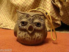 Vintage Clay Pottery OWL Bell with Talons Feet Clapper