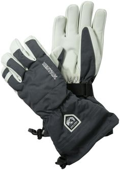 Hestra Heli Ski Glove, Grey, 10. Long snow cuff. Removable liner. Wind/water resistant backhand.