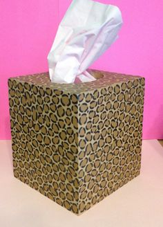 Hand-Painted Leopard Print Tissue Box. $21.00, via Etsy.