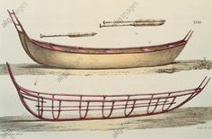 "Boat building techniques for rowing boats on the Aleutian Islands, 1822, drawing by Choris taken from """"A New Voyage Round the World"" by Otto von Kotzebue."
