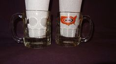 Pair A & W  Mugs Clear U.S.A. Map 8 oz Cup Glass Coffee Root Beer Float #AW