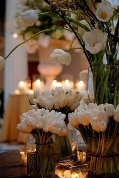 floral arrangement: gorgeous white tulips in a variety of lengths. I love tulips. Happy Birthday Quotes, Happy Birthday Cards, Birthday Greetings, Birthday Wishes, Birthday Messages, White Tulips, White Flowers, Spring Flowers, Tulips Flowers