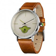 This Watch is part of the Star Wars Anniversary collection. Perfect gift for any Star Wars fan! Star Wars Yoda Collectors Anniversary Wrist Watch with Leather Strap - Brown. Cadeau Star Wars, Star Wars Collection, 40th Anniversary, Geek Stuff, Watches, Stars, Accessories, Big, Leather