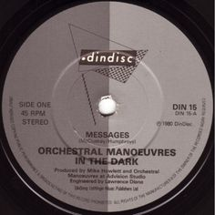 """7"""" 45RPM Messages/Taking Sides Again by Orchestral Manoeuvres In The Dark from Dindisc"""