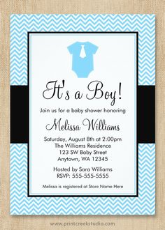 Cute little man baby shower invitations. Light blue chevron pattern with accents of black make this a perfect boy baby shower invite. Love the little blue romper and tie!