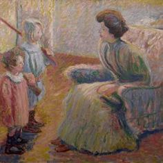 """Monet's Daughter, Suzanne and Her Children,"" Theodore Earl Butler, oil on canvas, 46 x Madron LLC. American Impressionism, Impressionist, Mother And Child Reunion, Art Studies, Claude Monet, Beautiful Paintings, American Artists, Butler, Oil On Canvas"