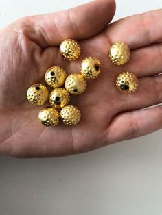 c59c2aea4b7 12mm 22kt Gold Plated Ball Beads,Spacer Beads, 10 pcs Matte Gold, Plating