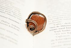 Wire wrap ringcopper ringadjustable wire wrapped by BeyhanAkman, $20.00