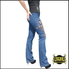 Jeans with cut-out character.