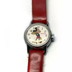 VINTAGE INGERSOLL MICKEY MOUSE WIND UP WATCH RED STRAP WORKS  | eBay