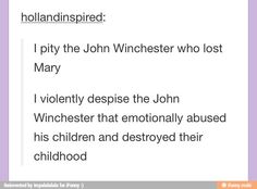 And that about sums it up.I like thinking about an AU where Azazel Killed John instead of Mary where the boys got to be kids in between hunter training sessions
