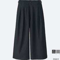 WOMEN U OXFORD WIDE LEG PANTS, BLACK