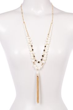 Simulated Pearl & Stone Tassel Drop Necklace by Stephan & Co on @nordstrom_rack