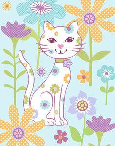 Flower Cat Art Print by pictorialboom on Etsy