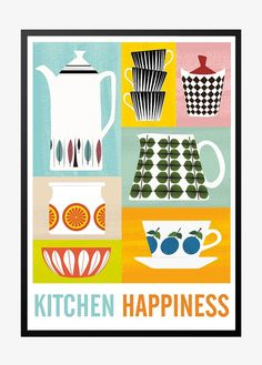Colrful kitchen poster, Stig Lindberg Scandinavian print, cooking art, Prints are available in various dimensions, please select yours in the drop down menu.Printed on matte archival photo paper.Prints are mailed in a sturdy mailing tube se. Kitchen Posters, Kitchen Prints, Kitchen Artwork, Food Posters, Kitchen Colors, Art Scandinave, Stig Lindberg, Plakat Design, Buch Design