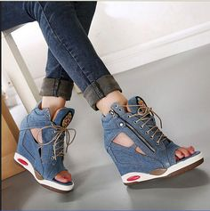 Womens Peep Toe Lace Up Platform Invisible Wedge High Heel Denim Canvas Shoes