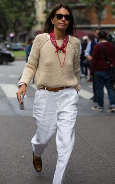 Neck scarf, winter whites and Gucci loafers: