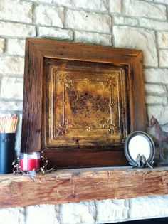 Antique Tin Ceiling Tile with Handmade Salvaged Barn Wood Frame Wall Hanging on Etsy, $85.00