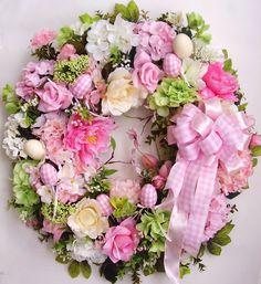 Pink Light Green Spring Easter flower door wreath