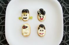 Classic Monster Cracker Snacks!  A fun & healthy Halloween snack that the kids can make themselves!