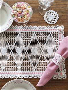 Crochet - Kitchen Patterns - Sets Patterns - Valentine Place Mat Set