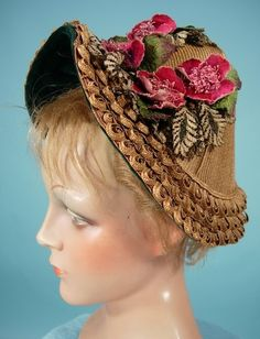 c. 1885 ~ Rare Fancy Edge Straw Gable Bonnet with Flowers