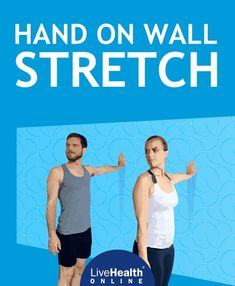 Hand-on-wall stretch, which consists of placing one palm on a wall, bracing your core, and turning your head in the opposite direction as displayed in the picture, improves posture, opens up the shoulders, and relieves hand pains associated with carpal tunnel syndrome. The hand-on-wall stretch is perfect for at home, at the office, or even at the airport after sitting for multiple hours on a flight.