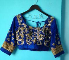 Indian Wedding Blouses - Royal Blue Blouse With Zari Work and Dabka Border | WedMeGood #wedmegood #blouses