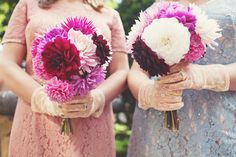 fluffy dahlia bouquets // photo by Joanna Brown // flowers by The Home Grown Flower Company