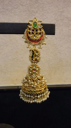 Long jhumkas with pearls all over