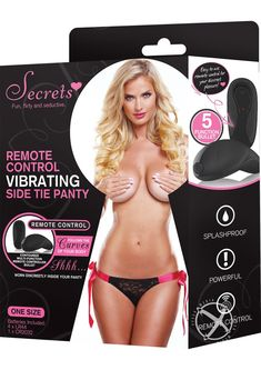 Secrets Remote Side Tie Panty Black/Pink OS - Fun, Flirty, and seductive. Ties on the sides and see through floral lace on the front and back. Includes contoured multi-function lay-on bullet that is worn discreetly inside your panty. Lace Boy Shorts, Jenifer Lawrence, Sexy Lingerie, Remote, The Secret, Underwear, Bullet, Floral Lace, Woman