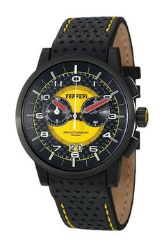 Shop for Ferrari Men's 'Granturismo' Black Dial Leather Strap Water-resistant Chronograph Watch. Get free delivery On EVERYTHING* Overstock - Your Online Watches Store! Cool Watches, Watches For Men, Men's Watches, Ferrari Watch, Hermes, Mens Sport Watches, Yellow Leather, Casio Watch, Chronograph