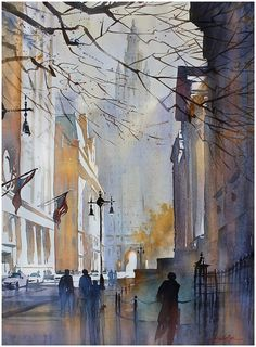"American watercolor artist Thomas W. Schaller | ""city hall - nyc"" watercolor 30x22 inches 2013"