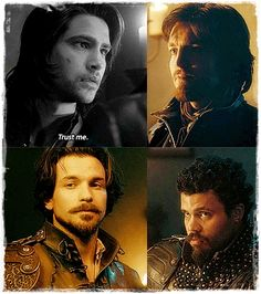 "The Musketeers, ""Trust me."" Haha! Their faces tell the world how much they trust him. Athos: Uh, no. Aramis: Yeah, right! Porthos: Are you serious?"