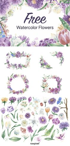 24 ideas for flowers pattern drawing templates free printable Watercolor Flower Vector, Watercolor Flower Background, Vector Flowers, Flower Images Free, Illustration Blume, Free Hand Drawing, Templates Printable Free, Printables, Flower Doodles