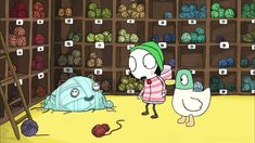 Sarah and Duck confronted with the leftover yarn monster