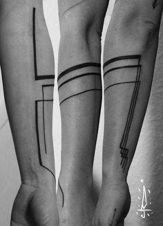 on arm by Jorge Ramirez, Berlin, Germany Geometric Tattoo Forearm, Geometric Tattoos Men, Forearm Tattoo Men, Arm Band Tattoo, Geometric Lines, Geometric Sleeve, Dragonfly Tattoo Design, Tattoo Designs Wrist, Trendy Tattoos