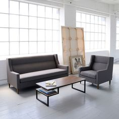 We're all about sofas with tight backs and a single seat cushion because they are so easy to transport for staging.
