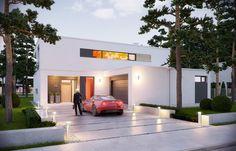 Zasada kompozycji bryły budynku polega na maksymalnym otwarciu wnętrza domu na ogród przy jednoczesnej minimalnej ekspozycji od strony frontowej. Projekt może posiadać podpiwniczenie, w którym przewidziano domowe SPA :)