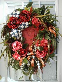 Valentine Spring Winter Lux Wooden Heart Decoration MacKenzie Childs Courtly Check Heirloom Ribbon Decor Door Wreath.