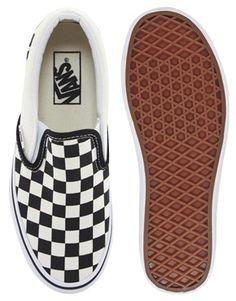 334885e9f0 Vans Classic Slip On Cream Black Checkerboard Sneakers at asos.com