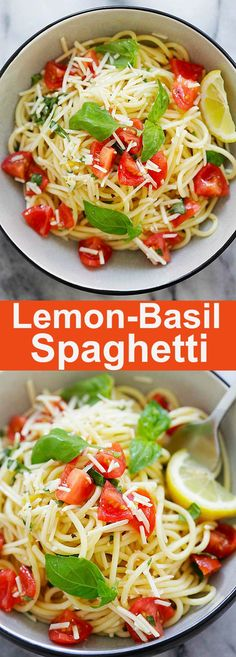 Lemon-Basil Spaghetti - refreshing, healthy and utterly delicious pasta dish made with lemon sauce, fresh basil and Parmesan cheese. This is perfect as lunch or a quick dinner Top Recipes, Dinner Recipes, Cooking Recipes, Drink Recipes, Healthy Pastas, Healthy Recipes, Delicious Recipes, Healthy Pasta Dishes, Healthy Foods