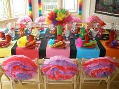 A fiesta idea for Girl Scout World Thinking Day Birthday Party Table Decorations, Fiesta Decorations, Birthday Party Tables, Party Decoration, 13th Birthday, Casino Night Party, Casino Theme Parties, Mexican Fiesta Party, Festa Party