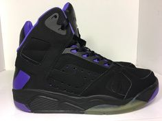 low priced 7d22c 3046c Nike Mens Air Flight Lite High Black Purple Basketball Shoes 329984 001 Sz  10 5